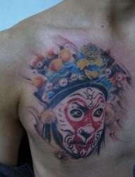 好看的胸部美猴王孙悟空脸谱纹身图片