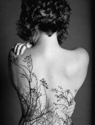 女性背部树木刺青