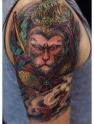 男生手臂超酷帅气的一张孙悟空纹身图片