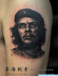 手臂前卫经典的一张切格瓦拉纹身图片
