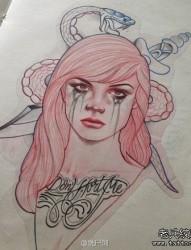 漂亮前卫的一张欧美美女纹身手稿