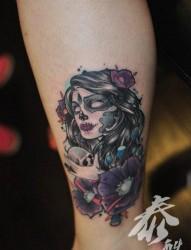 腿部好看漂亮的亡灵装美女纹身图片