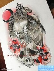 流行很帅的一张老鹰纹身手稿