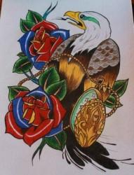 很帅流行的一张老鹰纹身手稿
