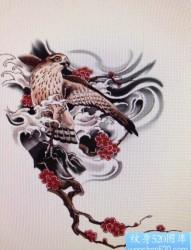 前卫流行的一张雀鹰纹身手稿