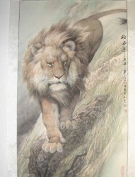 一张威武的狮子纹身手稿