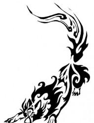 男人喜欢的图腾狼纹身手稿