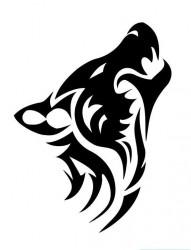 经典时尚的图腾狼头纹身作品
