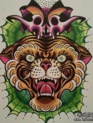 潮流超帅的一幅彩色虎头纹身手稿