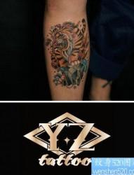 腿部时尚好看的school老虎纹身图片