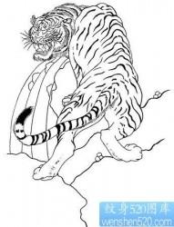 虎纹身图片作品:虎啸山涧纹身图片作品
