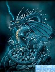 欧美翼龙骷髅纹身图片