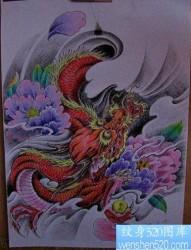 龙纹身图片:彩色龙牡丹纹身图片纹身作品