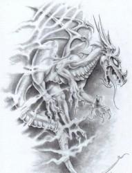 霸气超酷的欧美龙纹身手稿