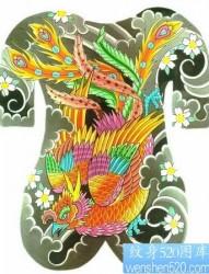 凤凰纹身图片:满背彩色凤凰樱花纹身图片纹身作品