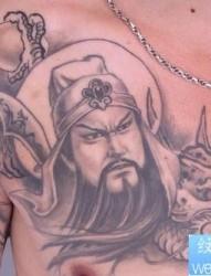关公纹身图片:关公披肩龙纹身图片纹身作品