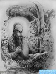 一幅男生喜欢的关公纹身手稿