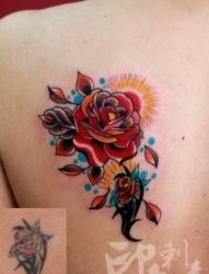 女人背部流行潮流的玫瑰花纹身图片
