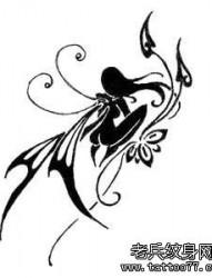 一幅图腾天使文身手稿图片由纹身520图库推荐