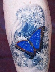 腿部纹身图片:腿部彩色3D蝴蝶花卉纹身图片纹身作品