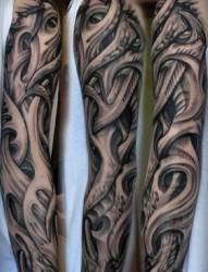 520纹身推荐一款手臂上夸张的3D花臂纹身