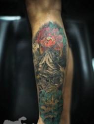 腿部时尚经典的般若纹身图片