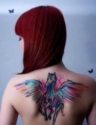 女性背部一款彩色的小飞马纹身图案