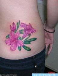 好看艳丽的腰部百合花纹身图片