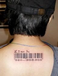 男人后背标签图腾刺青