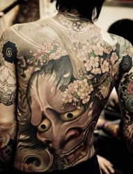 男士背部满背般若纹身