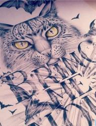 一幅字母猫咪文身图片由纹身520图库推荐