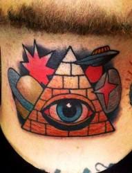 脖子上一幅个性潮流的上帝之眼纹身图片