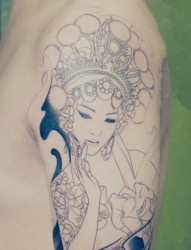 男生手臂肖像刺青