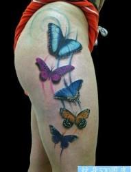 臀部纹身图片:臀部彩色蝴蝶纹身图片纹身作品