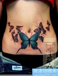 美女腹部蝴蝶纹身—日本黄炎纹身图片