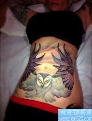 女人腹部经典时尚的猫头鹰纹身图片