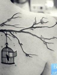 女孩子肩背小鸟鸟笼与树枝纹身图片