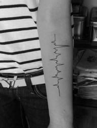 流行的一幅手臂心电图纹身图片