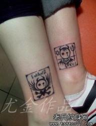 腿部可爱的情侣图腾天使与恶魔纹身图片