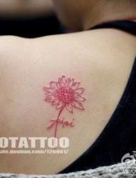 女人肩背潮流小巧的向日葵花纹身图片