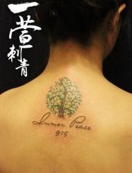 女人颈部精美流行的小树纹身图片