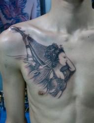 男士胸部漂亮的飞天仙子纹身图案
