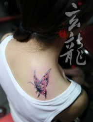 美女肩背漂亮小巧的彩色蝴蝶纹身图片