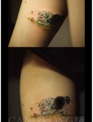 美女腿部可爱小巧的猫咪纹身图片