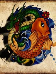 非常好看霸气的鲤鱼和龙纹身手稿