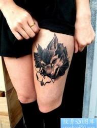 纹身520图库推荐一幅女人狼头纹身图片