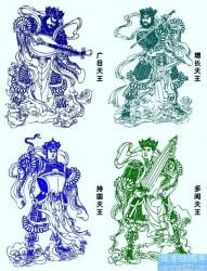 四大天王线稿纹身图片