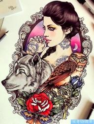 纹身520图库推荐一幅彩色欧美女郎纹身作品