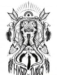 一幅个性流行的纹身手稿作品