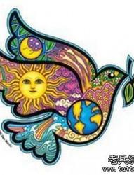 彩色鸽子纹身手稿作品